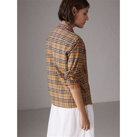 Contrast Piping Shirt contrast piping vintage check pyjama style shirt in camel