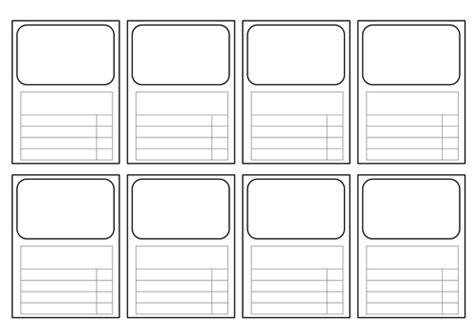 revision card template templates for top trumps style cards all subjects by
