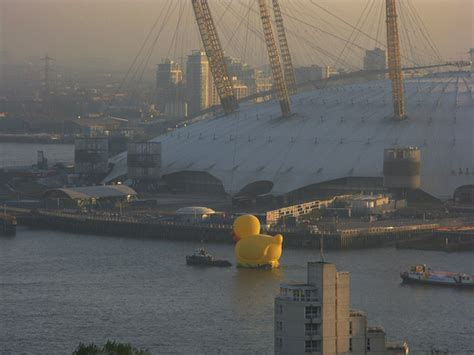 river thames yellow boards giant yellow duck floats down the river thames for an ad