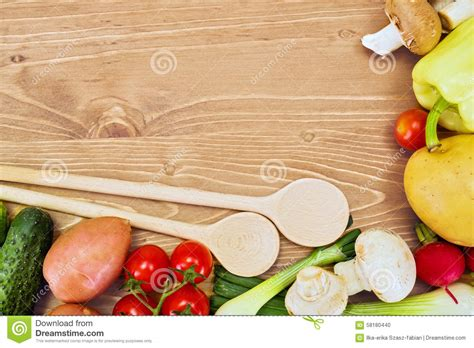 various vegetables arranged around copy space stock photo image 58180440
