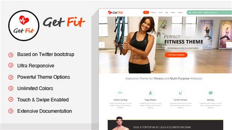 Getfit Gym Fitness Multipurpose Wordpress Theme By Skatdesign Themeforest Fitness Website Design Templates