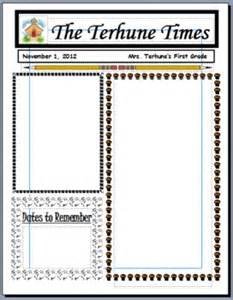 Free Monthly Newsletter Templates For Teachers by Free Monthly Newsletter Templates For Teachers