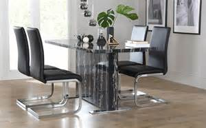 Black Marble Dining Table Uk Magnus Black Marble Dining Table With 4 Perth Black Chairs