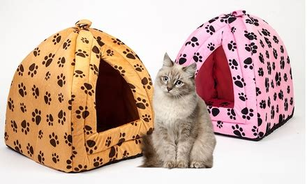Enclosed Cat Bed by Cat Plush Enclosed Pet Bed Groupon Goods