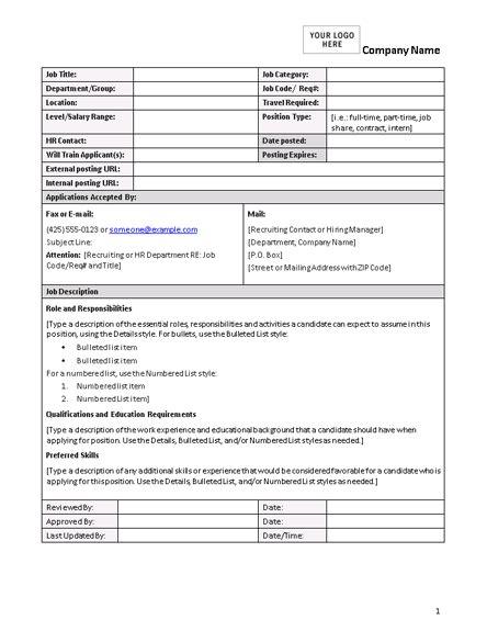 Job Description Form Description Template Exle