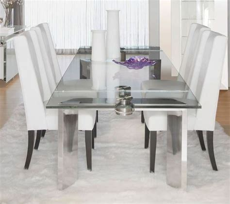 Stainless Steel Dining Room Chairs Ritz Mo Stainless Steel Rectangular Extendable Dining Room Set From International E 2402xt