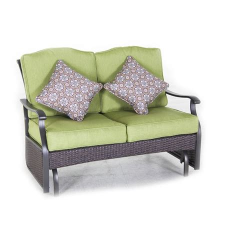 green bench cushion furniture green cushion glider bench with wicker frame