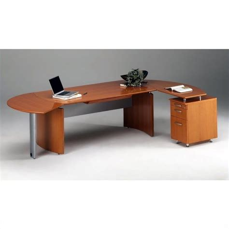 mayline napoli 72 quot wood l shaped desk in golden cherry