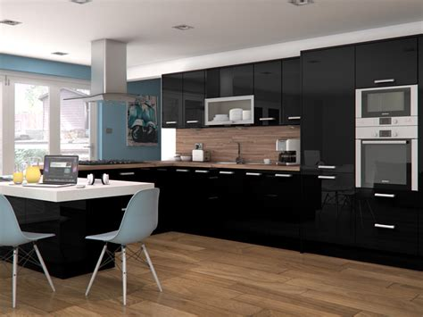 Black High Gloss Kitchen Cabinets by Feature Doors Specifications Cornice Pelmet Recommended