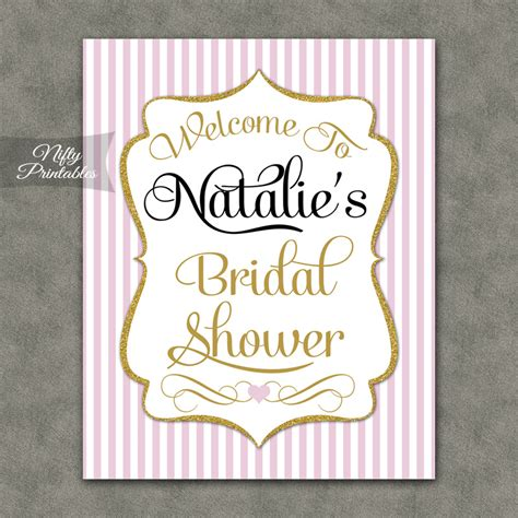 free printable wedding shower signs pink gold bridal shower welcome sign nifty printables