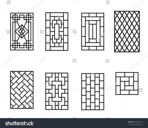 pattern window frame set chinese pattern window no frame stock vector 359640227