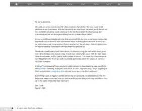 Apology Letter To Customer For Missing Item Apple Admits Map App Fell In Unprecedented