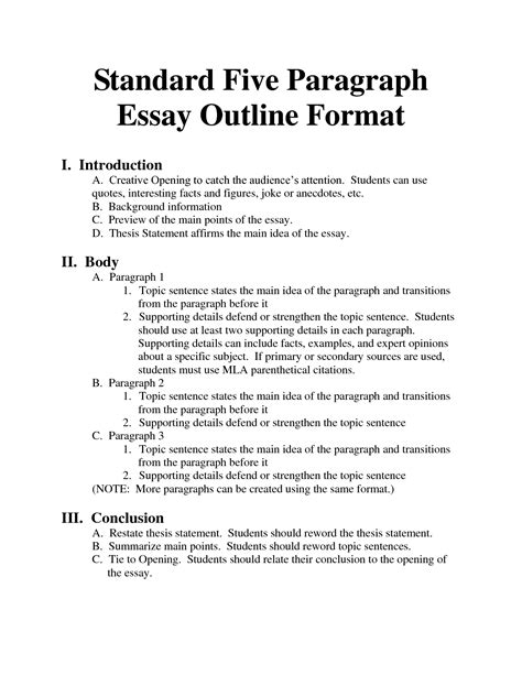 Writing A Formal Outline by Standard Essay Format Images Essays Homeschool Paragraph Outlines And School