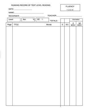 Note Book Running Run 20 Sheet this is a blank running record recording sheet it can be used with any book at any level there