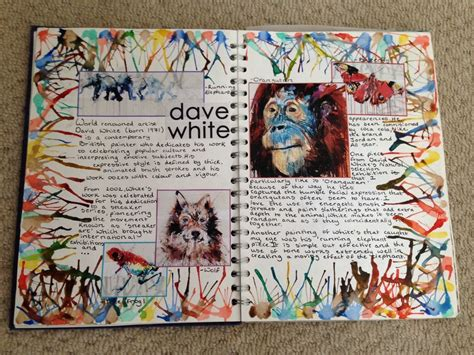 art journal layout music 22 10 14 gcse david white artist research page