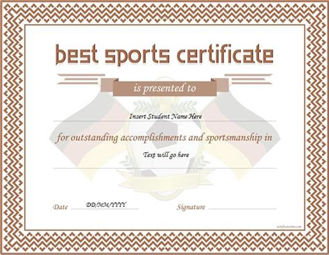 sport certificate template sports certificate templates for ms word professional