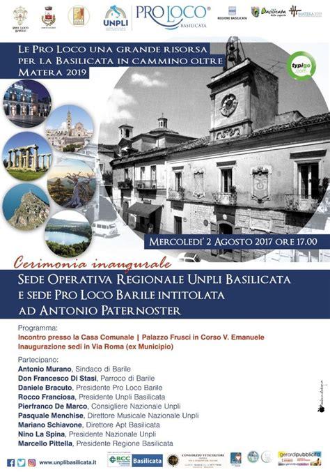 sede regione basilicata cerimonia inaugurale delle sedi pro loco barile e unpli