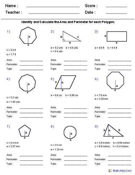 Area Of Shapes Worksheet by Geometry Worksheets Area And Perimeter Worksheets