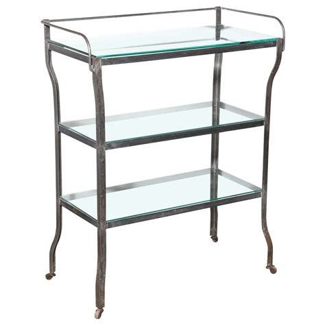 etagere bar large rolling iron 201 tag 232 re bar with three glass