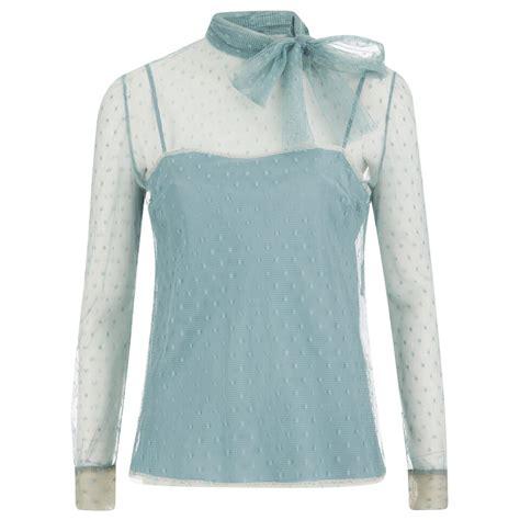 Bc Kors Top Blouse Wanita Top T Shirt Dress Runik Spandek Soft Fit L redvalentino s lace tie neck blouse celeste free uk delivery 163 50