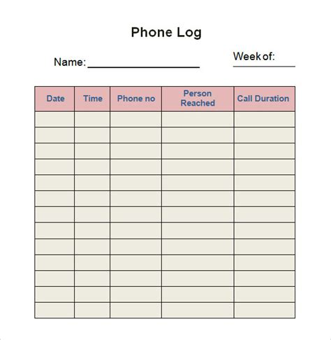 28 Log Templates Sle Templates Phone Call Log Template