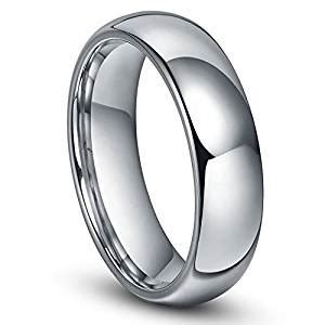 6mm tungsten men plain dome polished wedding band ring