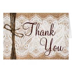 burlap lace rustic wedding thank you cards zazzle