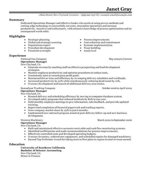 unforgettable operations manager resume exles to stand out myperfectresume
