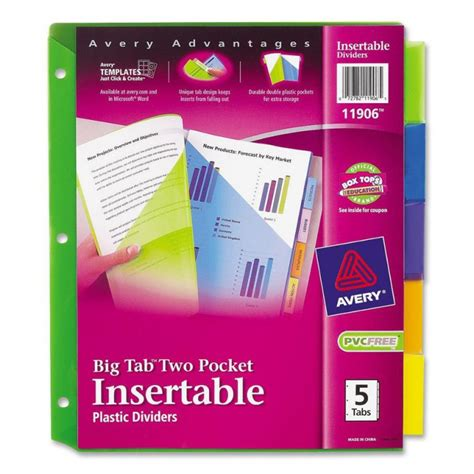 Cal 95 Per Isi 6 Tab avery two pocket insertable dividers 5 tab ld products