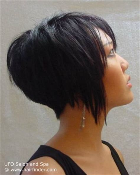 gradually stacked haircut inverted bob with tight blending in the nape and gradually