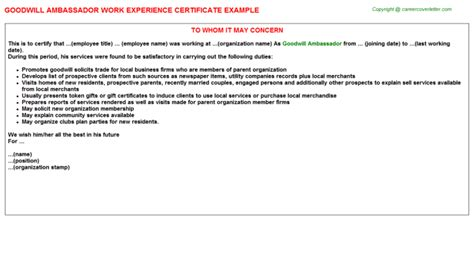 Mba Work Experience Certificate by Goodwill Work Experience Letters