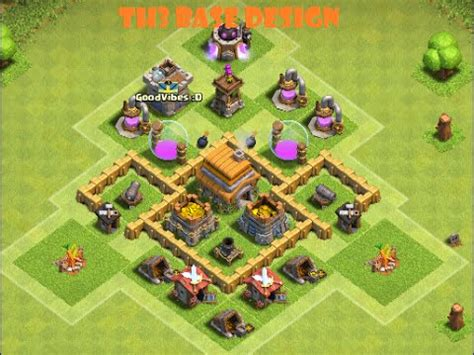 layout for town hall 3 clash of clans best town hall 3 defense coc th3 best