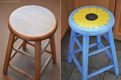 painted sunflower stool can can dancer