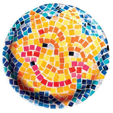 Paper Mosaic Crafts - paper plate mosaic with magazine paper club