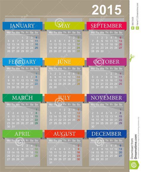 Calendario En Ingles 2015 Calendario Ingl 233 S Por El A 241 O 2015 Im 225 Genes De Archivo