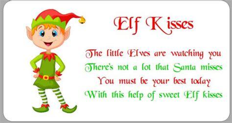 free printable elf kisses tags 24 x stickers christmas elf kisses poem white labels ebay