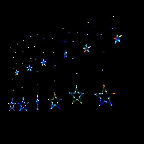 blue star fairy lights curtain lights stars decorate the house with beautiful