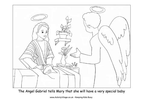 mary and the angel coloring page az coloring pages