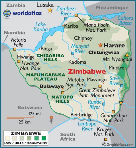 zimbabwe large color map