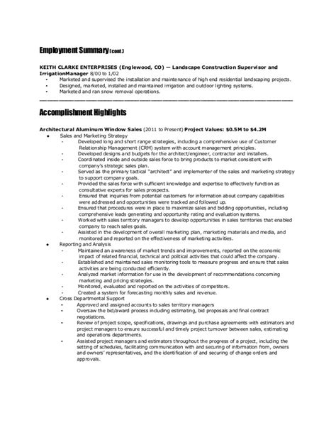 Landscape Contractor Sle Resume by Resume Jeff Meter