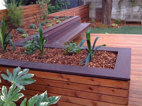 deck bench planter hardwood deck with built in bench and planters contemporary deck san francisco