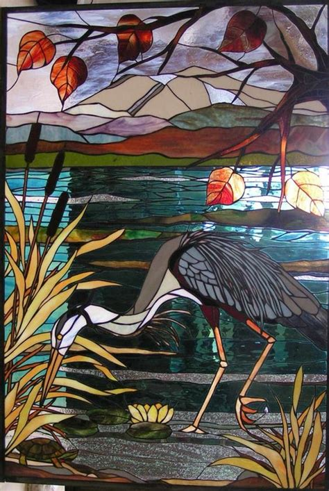 stained glass pattern blue heron stained glass heron for the love of glass pinterest