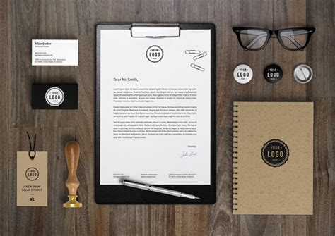 20 free branding identity mockups with themed items