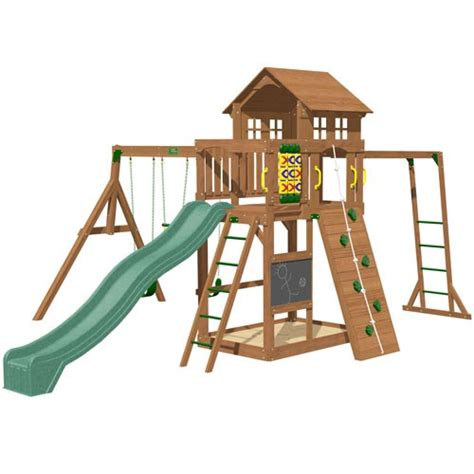 10 ft swing set playtime cypress swing set with 10 ft green wave slide