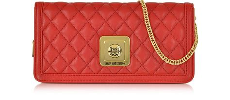 moschino quilted eco leather clutch w chain