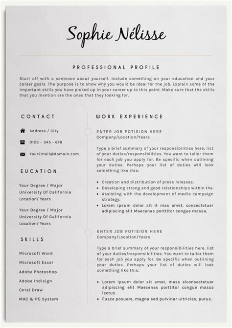 layout design resume resume template elegant resume template for word cv