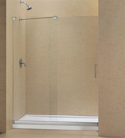 Frameless Shower Door Threshold Mirage Frameless Sliding Shower Door And Slimline Single Threshold Shower Base Modern