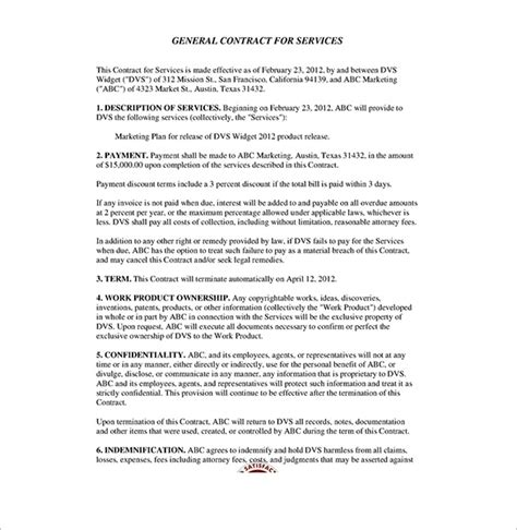 contract service agreement template service contract template beepmunk