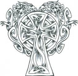simple celtic dragons cross tattoo design clipart best