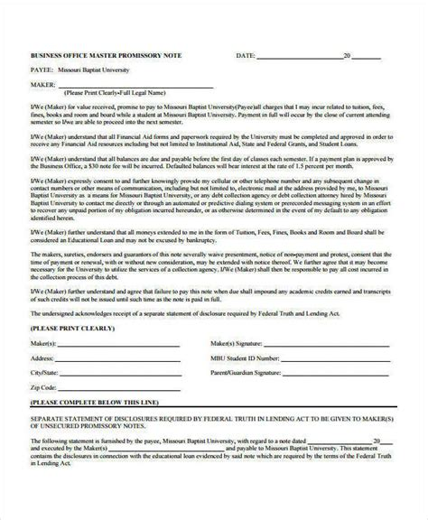 business promissory note template 40 free note templates